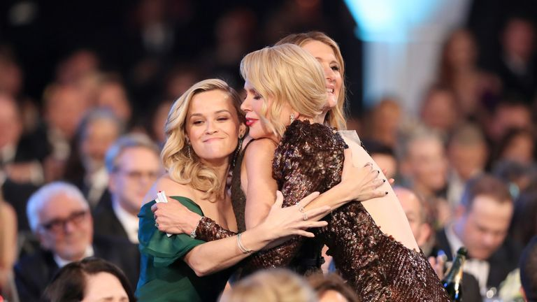 LOS ANGELES, CA - JANUARY 21: (L-R) Actors Reese Witherspoon, Laura Dern, and Nicole Kidman attend the 24th Annual Screen Actors Guild Awards at The Shrine Auditorium on January 21, 2018 in Los Angeles, California. 27522_010 (Photo by Christopher Polk/Getty Images for Turner Image)