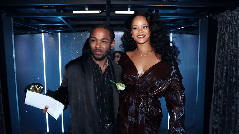 NEW YORK, NY - JANUARY 28: Recording artists Kendrick Lamar and Rihanna attend the 60th Annual GRAMMY Awards at Madison Square Garden on January 28, 2018 in New York City. (Photo by Christopher Polk/Getty Images for NARAS)