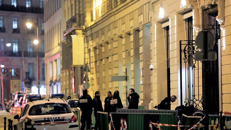 Police at the scene of a robbery at the Ritz