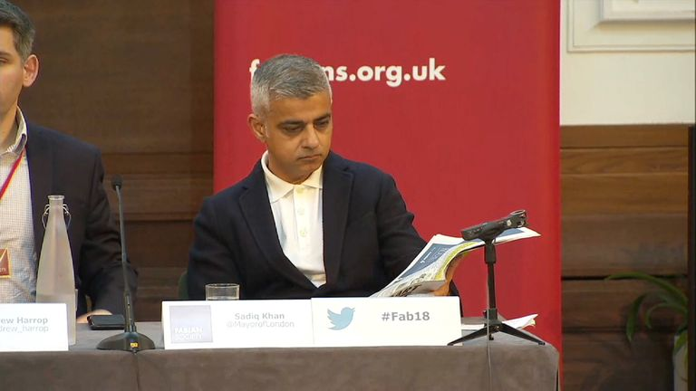 London's Mayor sat down and flicked through a paper when his speech was disrupted