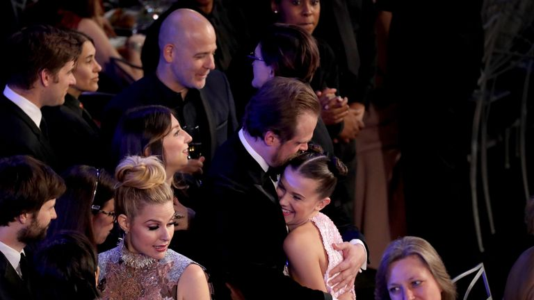 LOS ANGELES, CA - JANUARY 21: Actors David Harbour (L) and Millie Bobby Brown attend the 24th Annual Screen Actors Guild Awards at The Shrine Auditorium on January 21, 2018 in Los Angeles, California. 27522_014 (Photo by Mike Coppola/Getty Images for Turner Image)