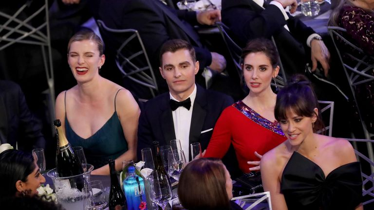 LOS ANGELES, CA - JANUARY 21: (L-R) Actors Betty Gilpin, Dave Franco, Alison Brie, and Jackie Tohn during the 24th Annual Screen Actors Guild Awards at The Shrine Auditorium on January 21, 2018 in Los Angeles, California. 27522_014 (Photo by Mike Coppola/Getty Images for Turner Image)