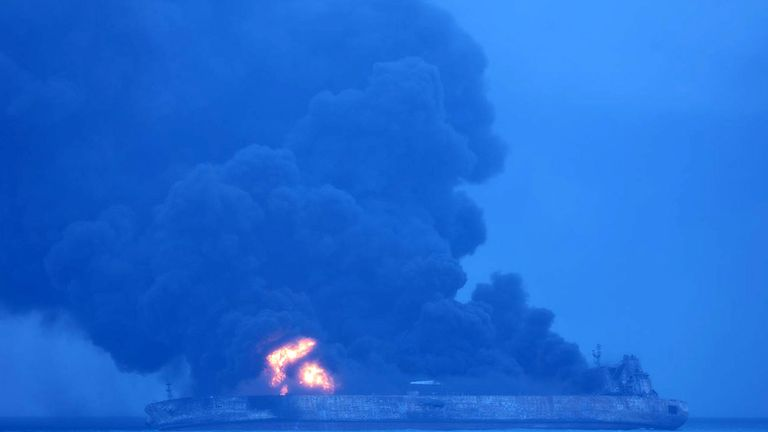 The oil tanker Sanchi burns in the East China Sea