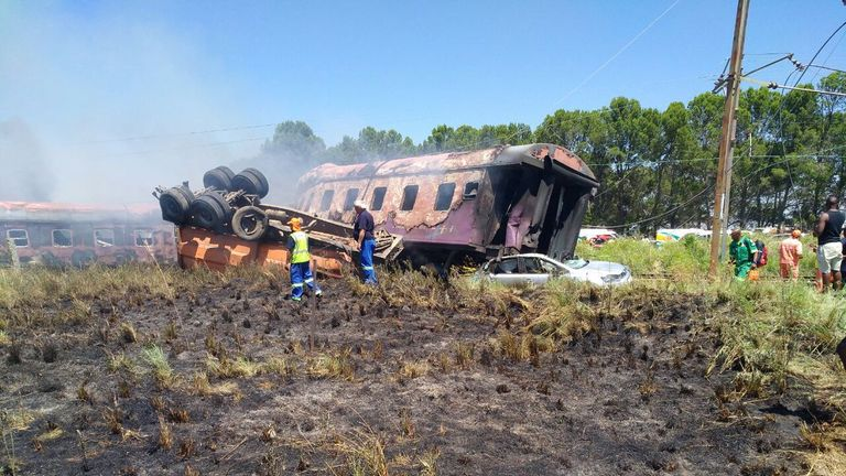 Several carriages were overturned when emergency services arrived. Pic: @ER24EMS
