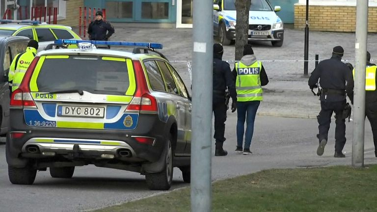 The explosion happened at Varby Gard station in southwest Stockholm. Pic: TV for Sweden