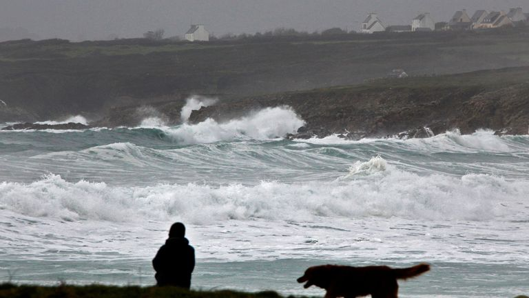 Waves break on the Brittany coast as Storm Eleanor hits