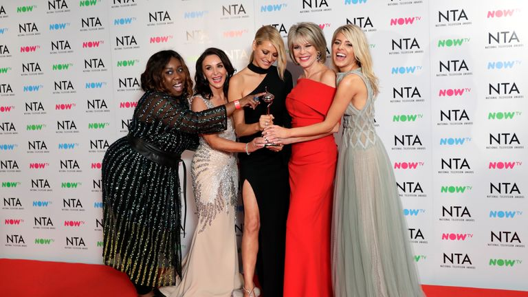 (L - R) Chizzy Akudolu, Shirley Ballas, Tess Daly, Ruth Langsford and Mollie King with the Talent Show award for 'Strictly Come Dancing'