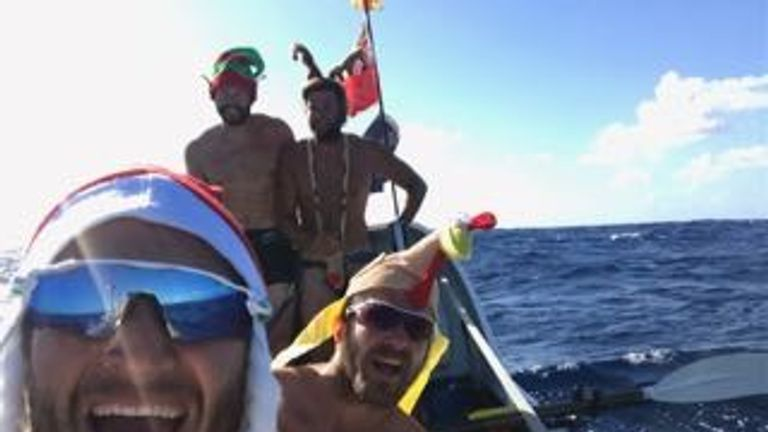 The rowers celebrated Christmas at sea. Pic: The Four Oarsmen