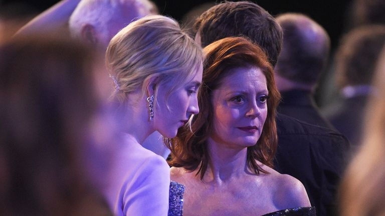 LOS ANGELES, CA - JANUARY 21: Actors Saoirse Ronan (L) and Susan Sarandon (R) during the 24th Annual Screen ActorsGuild Awards at The Shrine Auditorium on January 21, 2018 in Los Angeles, California. (Photo by Kevork Djansezian/Getty Images)
