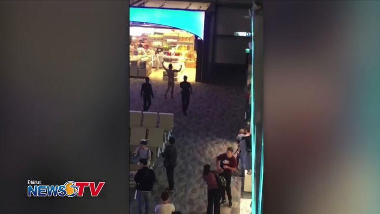 The man wandered through the terminal naked. Pic: Phuket News TV