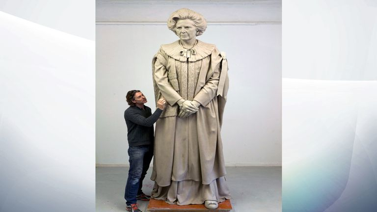 Sculptor Douglas Jennings working on his statue of Lady Thatcher