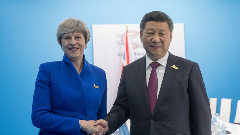 Theresa May is in China for post-Brexit trade talks. File pic