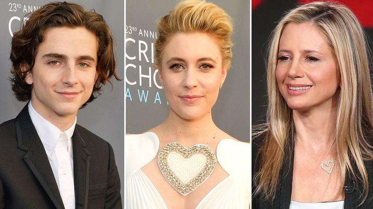 Timothee Chalamet, Greta Gerwig and Mira Sorvino