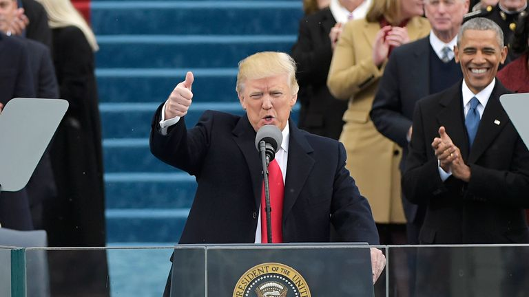 Trump gives the thumbs up at his inauguration