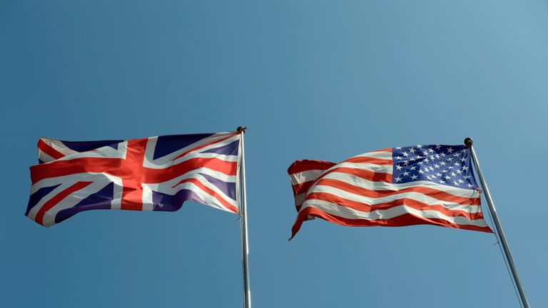 United Kingdom and USA flags - Stock image
