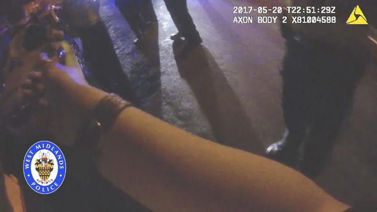 PC Agyei's wrist appeared to be bruised in the assault. Pic: West Midlands Police
