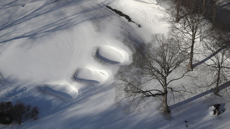 A golf course covered in snow in White Plains, New York state