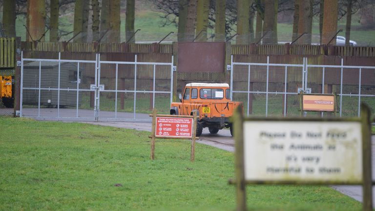 The gates are closed at an area of Woburn Safari Park for an investigation to take place