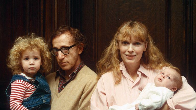 Woody Allen and family in 1988