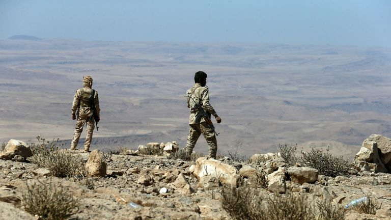 Yemeni soldiers are pictured as they take positions on a mountain on the frontline of fighting with Houthis in Nihem area near Sanaa, Yemen January 27, 2018. REUTERS/Faisal Al Nasser