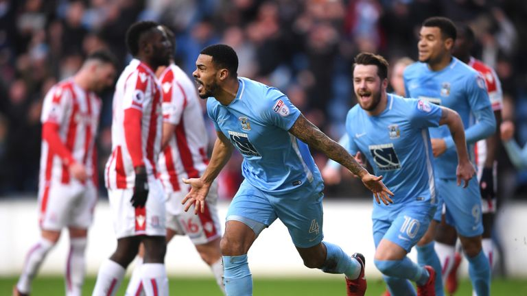 Jordan Willis of Coventry City celebrates after scoring his side's first goal during The Emirates FA Cup Third Round match v Stoke City