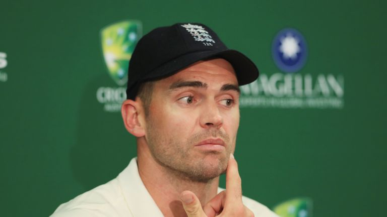 SYDNEY, AUSTRALIA - JANUARY 08:  James Anderson of England  gives a press conference after day five  of the Fifth Test match in the 2017/18 Ashes Series be