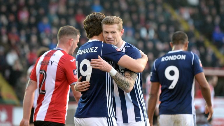 West Bromwich Albion's Jay Rodriguez (left) celebrates scoring his side's second goal of the game with team-mate James McClean v Exeter City in the FA Cup