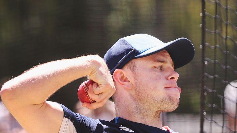 MELBOURNE, AUSTRALIA - DECEMBER 24:  Mason Crane bowls during an England nets session at the Melbourne Cricket Ground on December 24, 2017 in Melbourne, Au