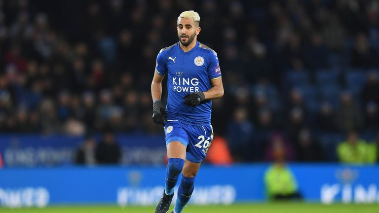 LEICESTER, ENGLAND - DECEMBER 23:  Riyad Mahrez of Leicester in action during the Premier League match between Leicester City and Manchester United at The