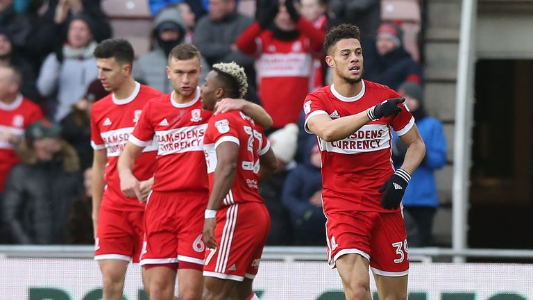 Rudy Gestede of Middlesbrough celebrates scoring the opener