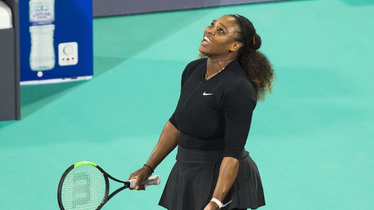 Serena Williams reacts during her exhibition match in Abu Dhabi last week