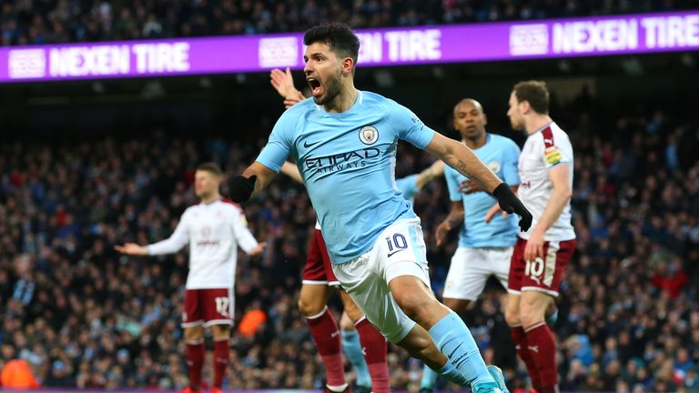 Sergio Aguero of Manchester City celebrates scoring his side's first goal during The Emirates FA Cup Third Round match v Burnley