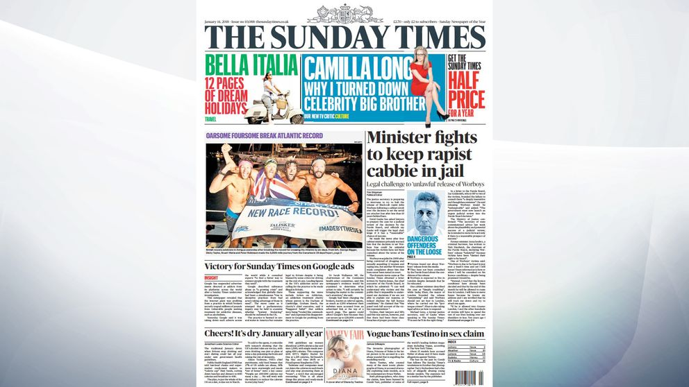 The Sunday Times leads on Worboys