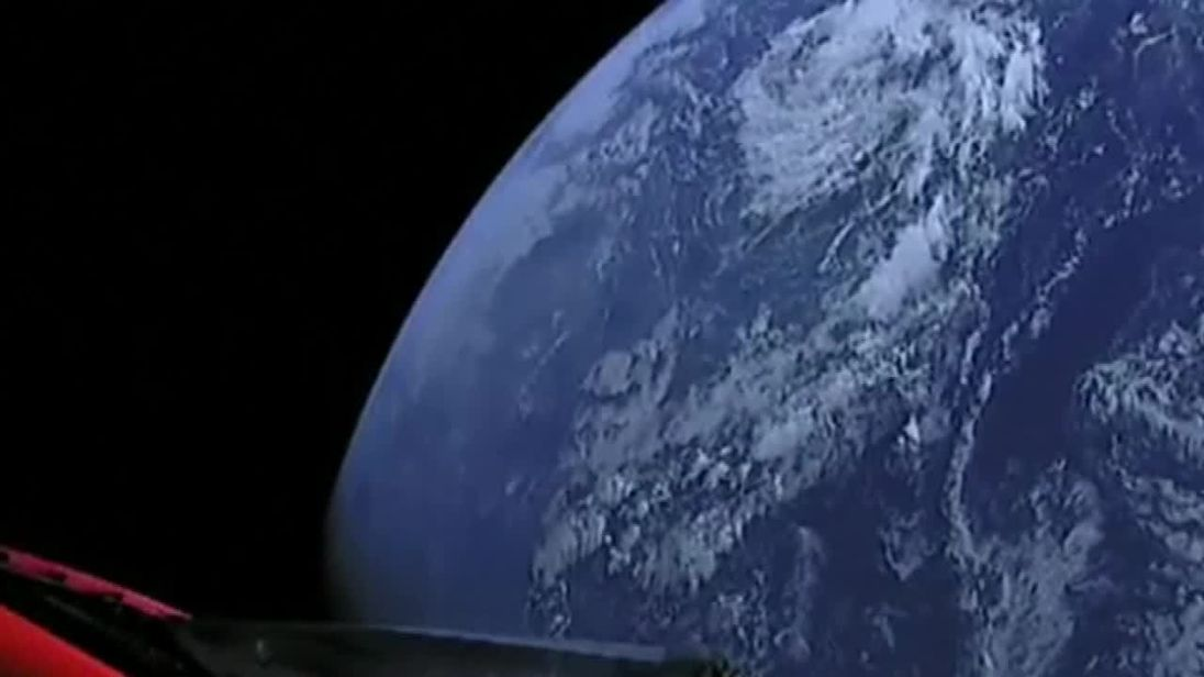 tesla car in space live. video: launch puts electric car in orbit tesla space live
