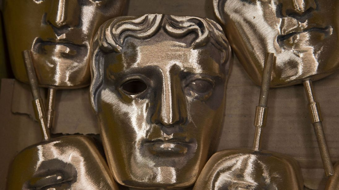 Polished BAFTA (British Academy of Film and Television Arts) masks sit in a box during a photocall at the New Pro Foundries, west of London on January 31, 2017. The masks will be presented to winners at BAFTA's awards ceremony in London on February 12, 2017. / AFP / Daniel LEAL-OLIVAS (Photo credit should read DANIEL LEAL-OLIVAS/AFP/Getty Images)