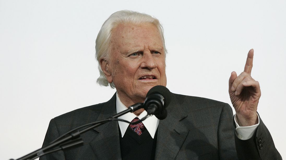 Evangelist Billy Graham preached to millions on TV and through satellite feeds