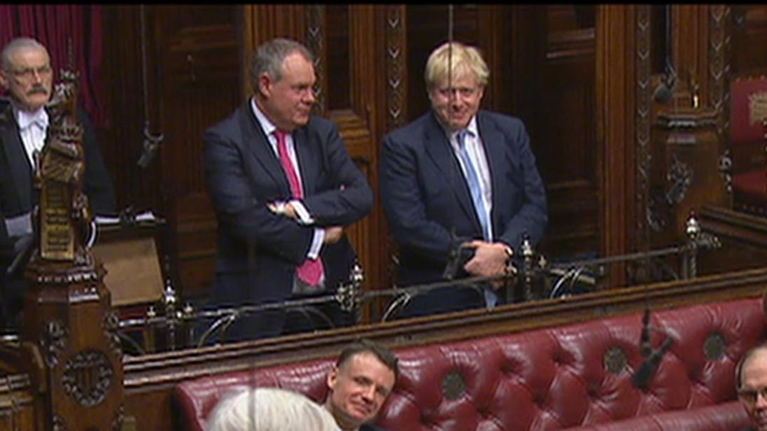 Boris Johnson gets skewered by a Lib dem peer over his EU plans, while Boris is watching from the side
