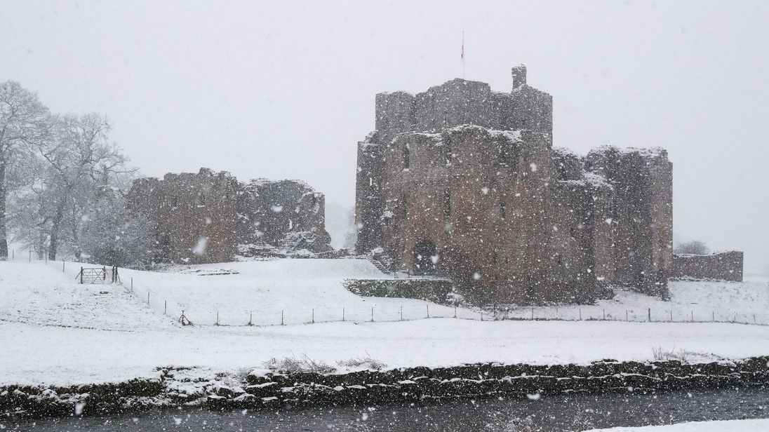 Brougham Castle in Penrith during a snow blizzard on Tuesday
