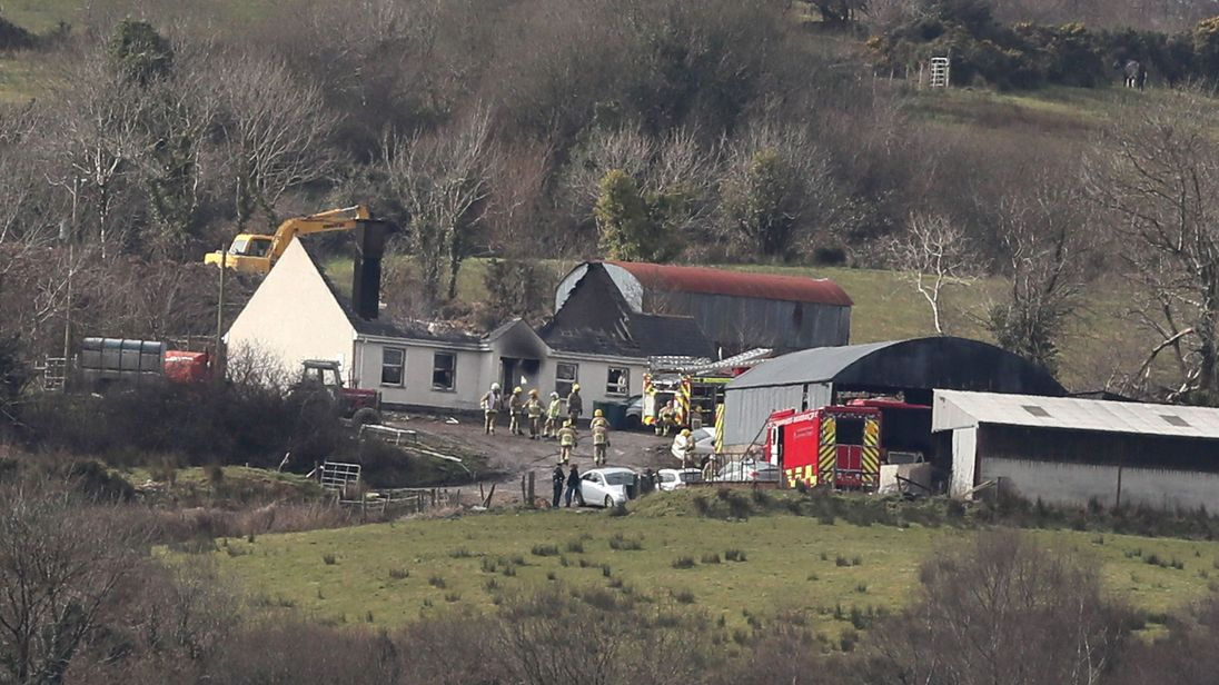 Emergency services at a house in Derrylin Fermanagh