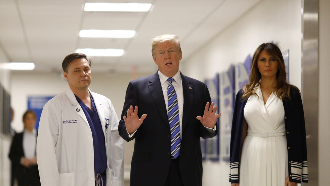 Trump meets shooting victims at Florida hospital