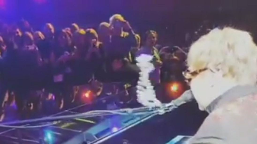 Elton John was struck in the face by a necklace during a performance in Caesar's Palace, Las Vegas, on February 14.  The singer stopped performing to check his teeth after being hit by the necklace, which had been thrown from the crowd.