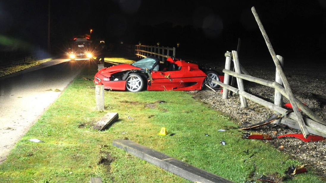 Court head how the Ferrari driven by Cobden crashed into a fence.