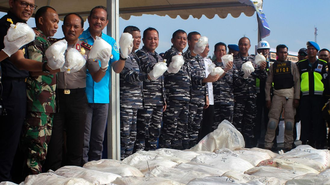 Indonesian officials display more than a tonne of methamphetamine in Batam island,