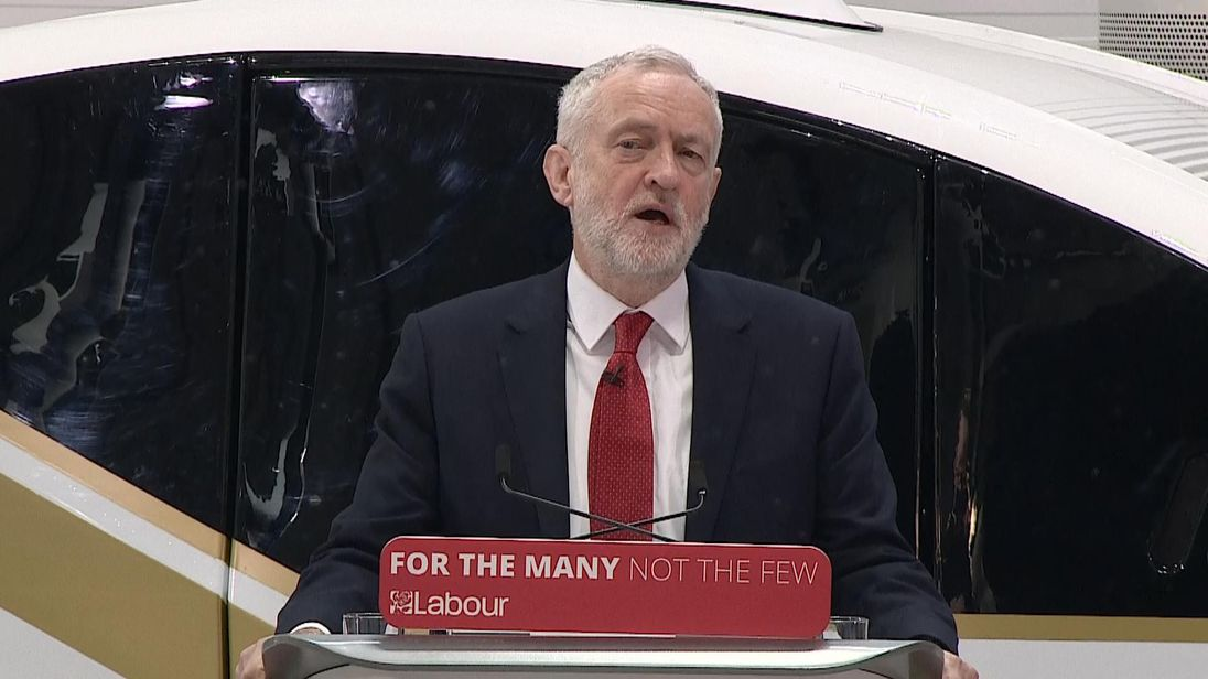 Jeremy Corbyn at a speech on Brexit in Coventry
