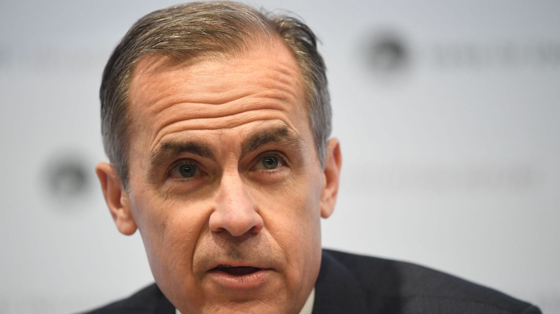 Bank of England Governor Mark Carney speaks during the central bank's quarterly inflation report press conference in the City of London.