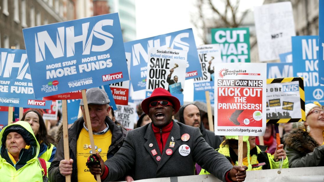 Demonstrators marched in support of the NHS, calling for more funding