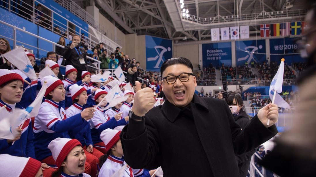 Kim Jong Un impersonator shocks North Korean cheerleaders at Winter