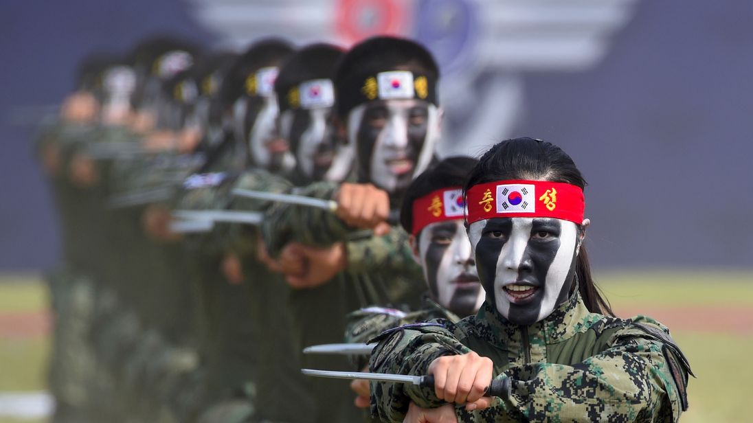 South Korean Special Army soldiers perform martial arts during a ceremony