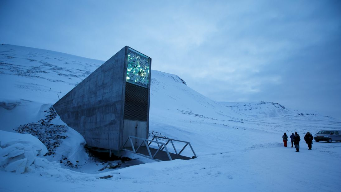 The entrance to the international gene bank Svalbard Global Seed Vault (SGSV)