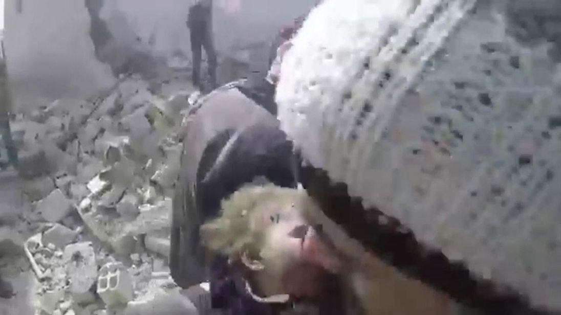 Baby girl pulled from under rubble after strikes on eastern Douma